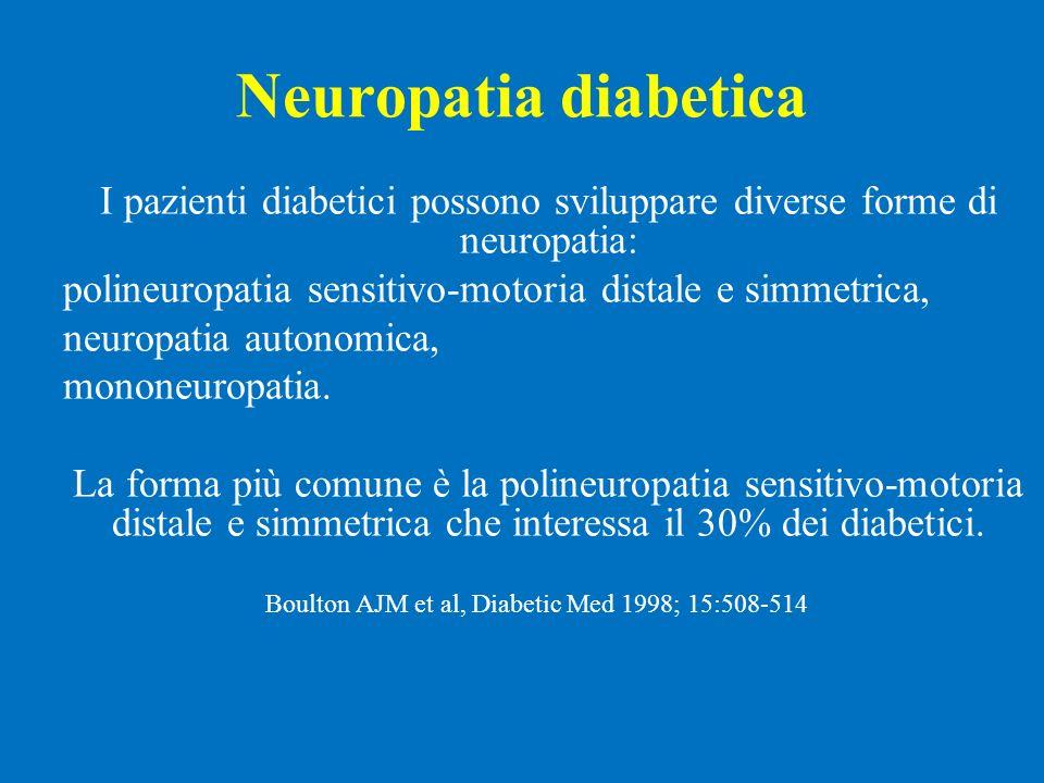 Neuropatia diabetica I pazienti diabetici possono sviluppare diverse forme di neuropatia: polineuropatia sensitivo-motoria distale e simmetrica, neuro