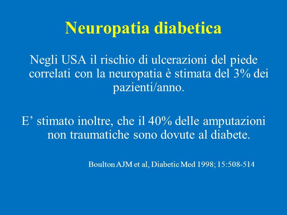 Neuropatia diabetica Negli USA il rischio di ulcerazioni del piede correlati con la neuropatia è stimata del 3% dei pazienti/anno. E stimato inoltre,