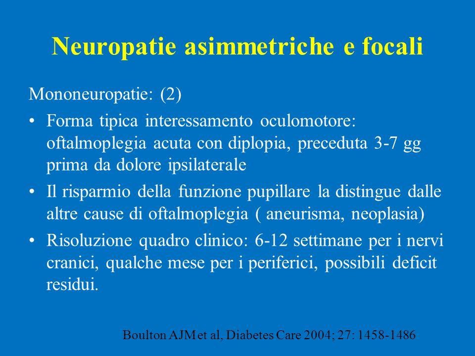 Neuropatie asimmetriche e focali Mononeuropatie: (2) Forma tipica interessamento oculomotore: oftalmoplegia acuta con diplopia, preceduta 3-7 gg prima
