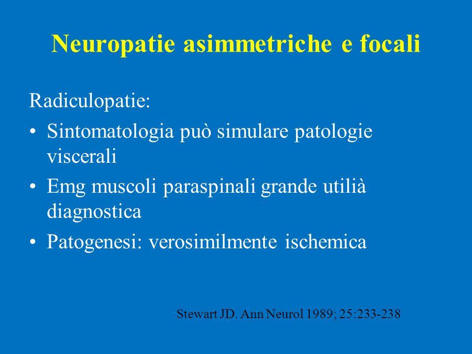 Neuropatie asimmetriche e focali Radiculopatie: Sintomatologia può simulare patologie viscerali Emg muscoli paraspinali grande utilià diagnostica Pato