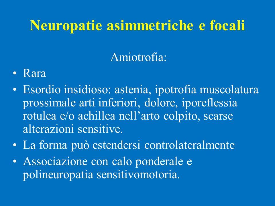 Neuropatie asimmetriche e focali Amiotrofia: Rara Esordio insidioso: astenia, ipotrofia muscolatura prossimale arti inferiori, dolore, iporeflessia ro
