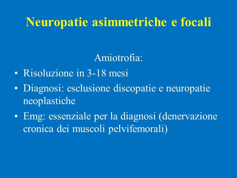 Neuropatie asimmetriche e focali Amiotrofia: Risoluzione in 3-18 mesi Diagnosi: esclusione discopatie e neuropatie neoplastiche Emg: essenziale per la
