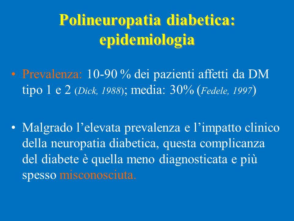 Polineuropatia diabetica: epidemiologia Prevalenza: 10-90 % dei pazienti affetti da DM tipo 1 e 2 (Dick, 1988) ; media: 30% ( Fedele, 1997 ) Malgrado