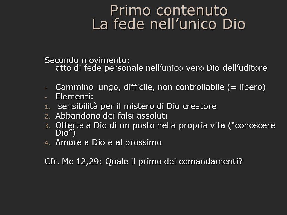 Primo contenuto La fede nellunico Dio Secondo movimento: atto di fede personale nellunico vero Dio delluditore - Cammino lungo, difficile, non control