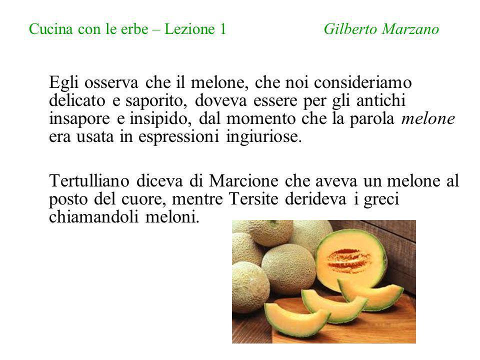 Cucina con le erbe – Lezione 1 Gilberto Marzano Egli osserva che il melone, che noi consideriamo delicato e saporito, doveva essere per gli antichi insapore e insipido, dal momento che la parola melone era usata in espressioni ingiuriose.