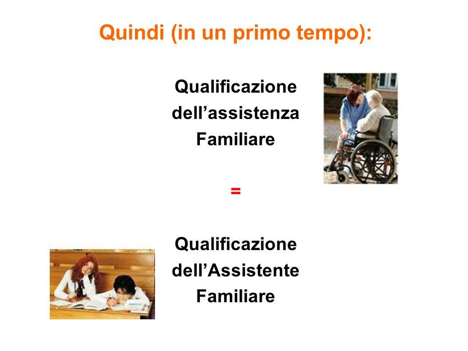 Quindi (in un primo tempo): Qualificazione dellassistenza Familiare = Qualificazione dellAssistente Familiare