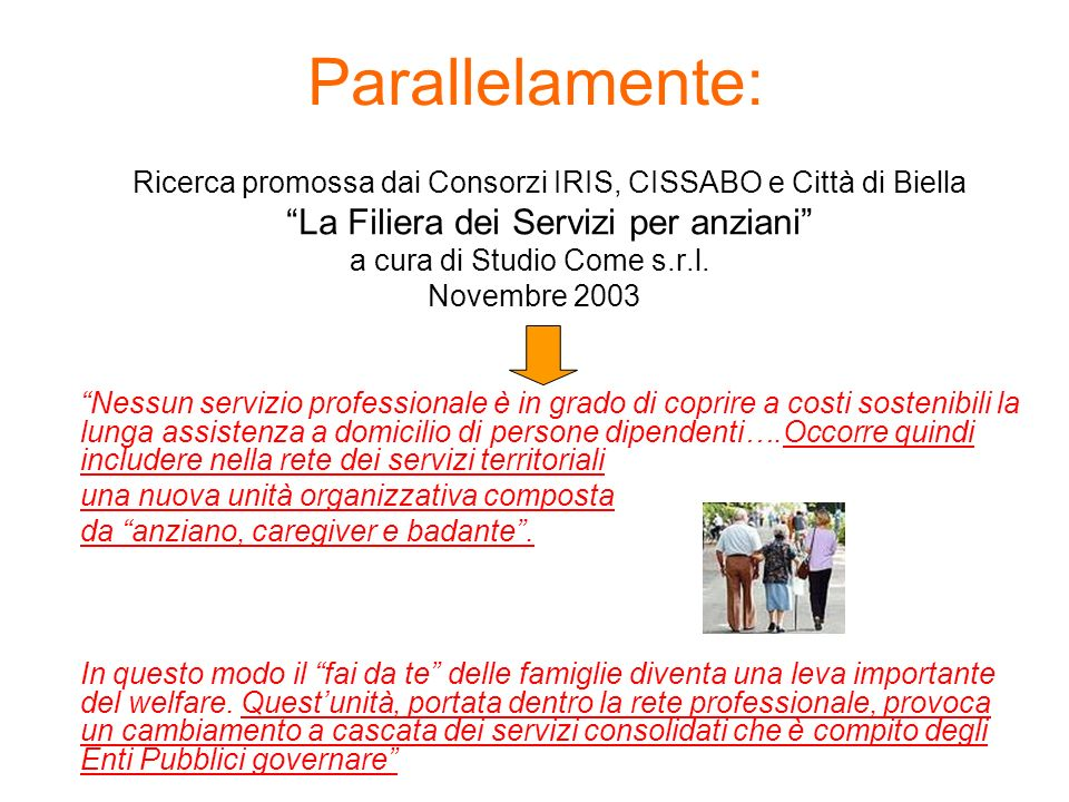 Parallelamente: Ricerca promossa dai Consorzi IRIS, CISSABO e Città di Biella La Filiera dei Servizi per anziani a cura di Studio Come s.r.l. Novembre