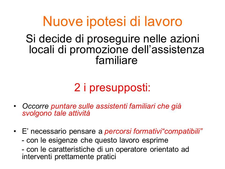 Nuove ipotesi di lavoro Si decide di proseguire nelle azioni locali di promozione dellassistenza familiare 2 i presupposti: Occorre puntare sulle assi