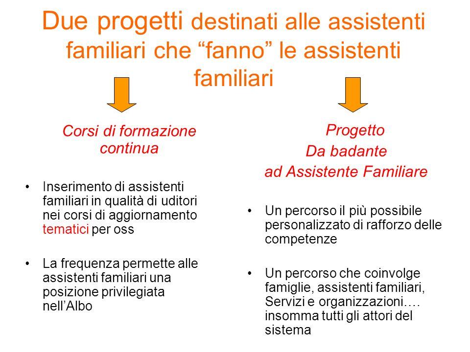 Due progetti destinati alle assistenti familiari che fanno le assistenti familiari Corsi di formazione continua Inserimento di assistenti familiari in