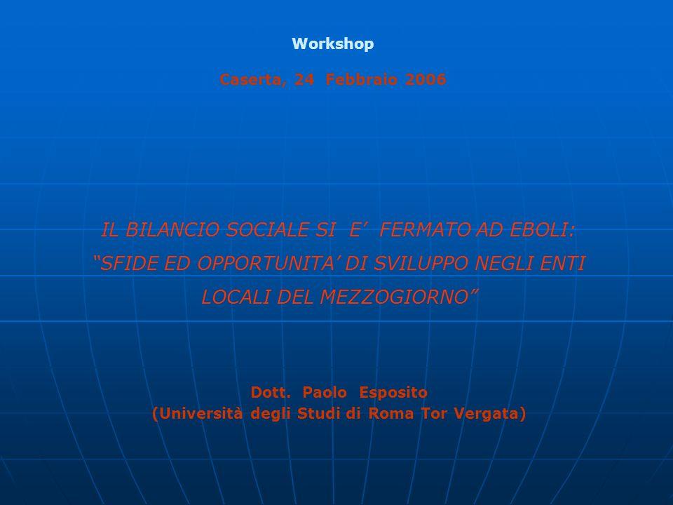 Indice 1.Il Bilancio Sociale 2. Il Bilancio Sociale nella P.A.