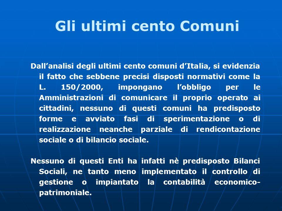 Dallanalisi degli ultimi cento comuni dItalia, si evidenzia il fatto che sebbene precisi disposti normativi come la L.