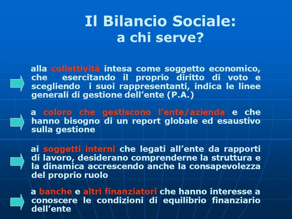 Il Bilancio Sociale: a chi serve? alla collettività intesa come soggetto economico, che esercitando il proprio diritto di voto e scegliendo i suoi rap