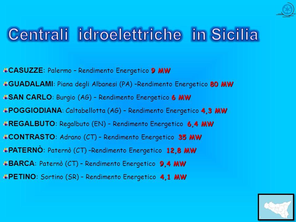 9 MW CASUZZE : Palermo – Rendimento Energetico 9 MW 80 MW GUADALAMI : Piana degli Albanesi (PA) –Rendimento Energetico 80 MW 6 MW SAN CARLO : Burgio (