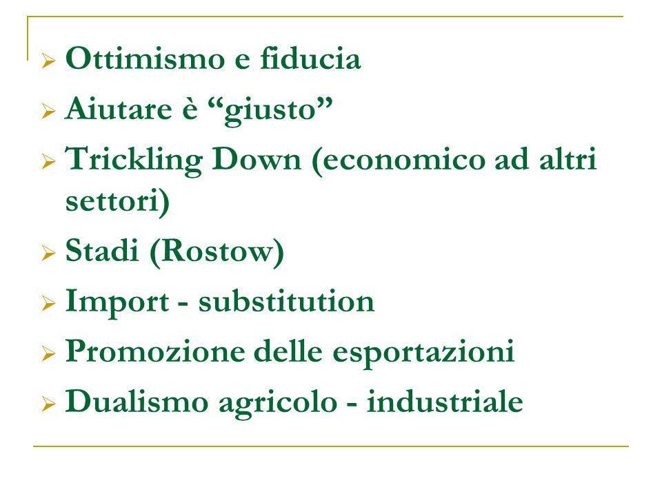 Ottimismo e fiducia Aiutare è giusto Trickling Down (economico ad altri settori) Stadi (Rostow) Import - substitution Promozione delle esportazioni Dualismo agricolo - industriale