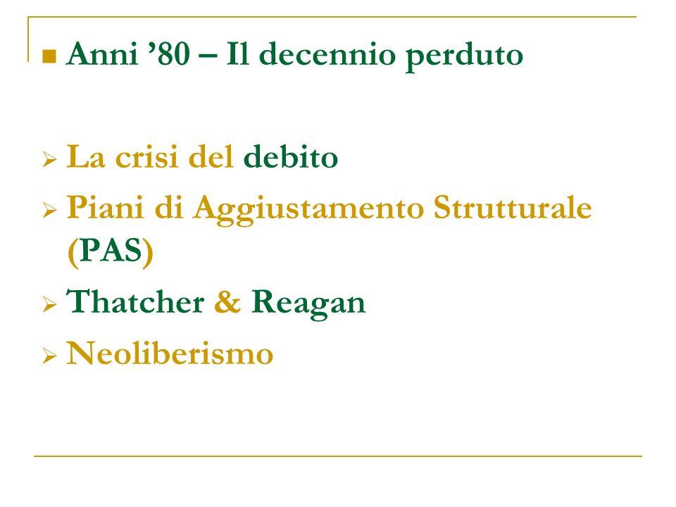 Anni 80 – Il decennio perduto La crisi del debito Piani di Aggiustamento Strutturale (PAS) Thatcher & Reagan Neoliberismo