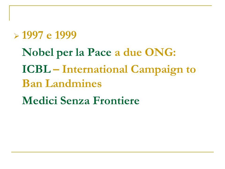 1997 e 1999 Nobel per la Pace a due ONG: ICBL – International Campaign to Ban Landmines Medici Senza Frontiere