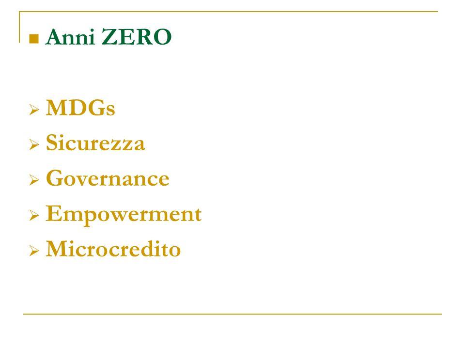 Anni ZERO MDGs Sicurezza Governance Empowerment Microcredito