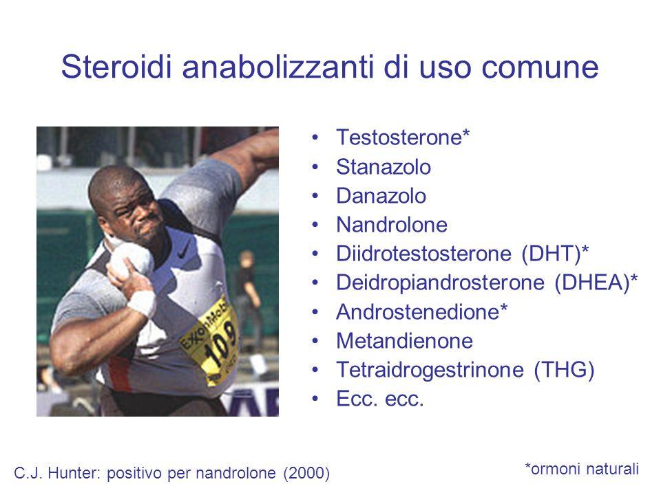 Steroidi anabolizzanti di uso comune Testosterone* Stanazolo Danazolo Nandrolone Diidrotestosterone (DHT)* Deidropiandrosterone (DHEA)* Androstenedion