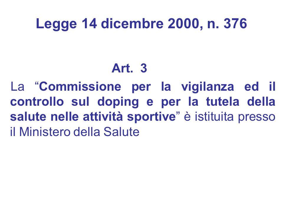 Art. 3 La Commissione per la vigilanza ed il controllo sul doping e per la tutela della salute nelle attività sportive è istituita presso il Ministero
