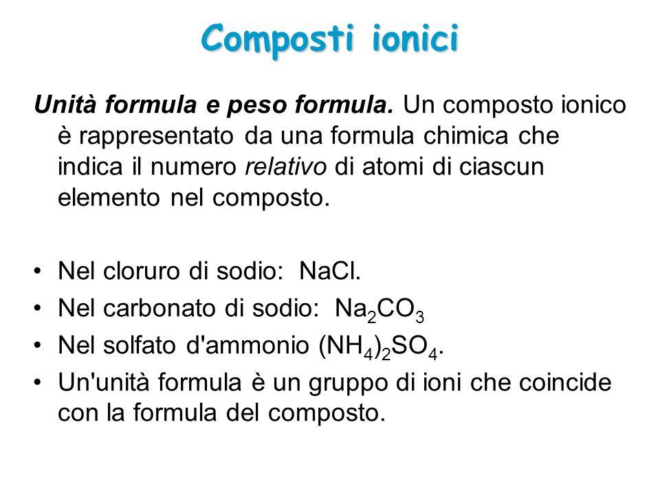 Composti ionici Unità formula e peso formula. Un composto ionico è rappresentato da una formula chimica che indica il numero relativo di atomi di cias