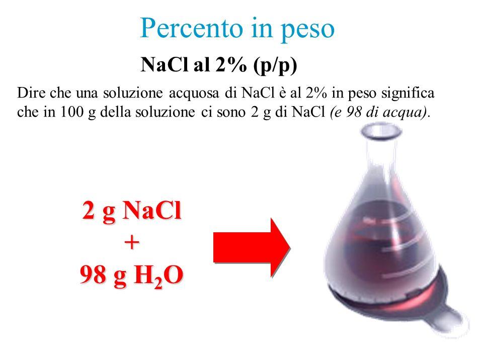 Percento in peso Dire che una soluzione acquosa di NaCl è al 2% in peso significa che in 100 g della soluzione ci sono 2 g di NaCl (e 98 di acqua).