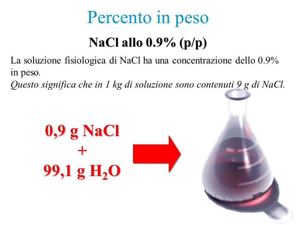 0,9 g NaCl + 99,1 g H 2 O Percento in peso La soluzione fisiologica di NaCl ha una concentrazione dello 0.9% in peso. Questo significa che in 1 kg di
