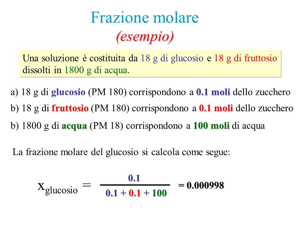 Frazione molare(esempio) Una soluzione è costituita da 18 g di glucosio e 18 g di fruttosio dissolti in 1800 g di acqua. a) 18 g di glucosio (PM 180)