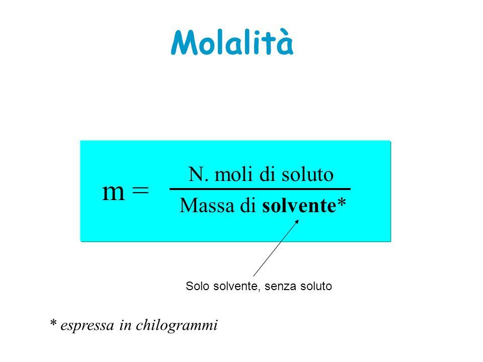 Molalità m = N. moli di soluto Massa di solvente* * espressa in chilogrammi Solo solvente, senza soluto