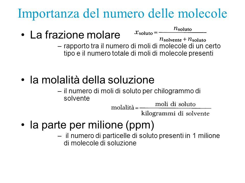 Importanza del numero delle molecole La frazione molare –rapporto tra il numero di moli di molecole di un certo tipo e il numero totale di moli di mol