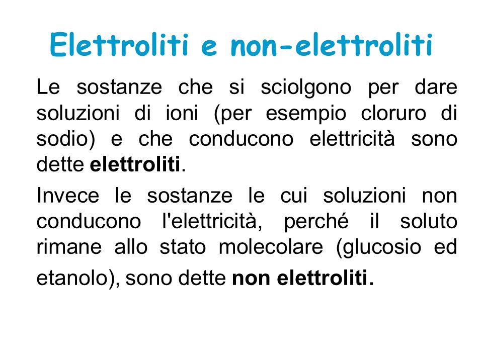 Elettroliti e non-elettroliti Le sostanze che si sciolgono per dare soluzioni di ioni (per esempio cloruro di sodio) e che conducono elettricità sono dette elettroliti.
