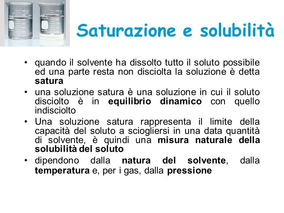 Saturazione e solubilità quando il solvente ha dissolto tutto il soluto possibile ed una parte resta non disciolta la soluzione è detta satura una sol