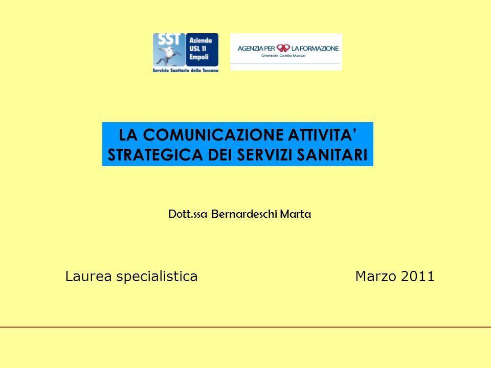 Marzo 2011 LA COMUNICAZIONE ATTIVITA STRATEGICA DEI SERVIZI SANITARI Dott.ssa Bernardeschi Marta Laurea specialistica