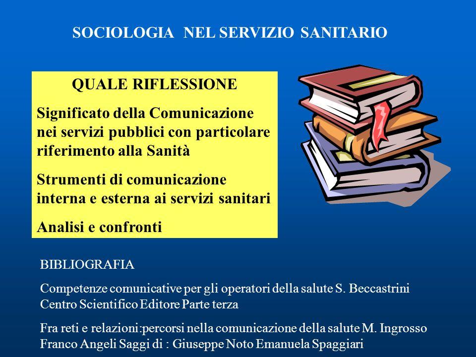 SOCIOLOGIA NEL SERVIZIO SANITARIO QUALE RIFLESSIONE Significato della Comunicazione nei servizi pubblici con particolare riferimento alla Sanità Strum