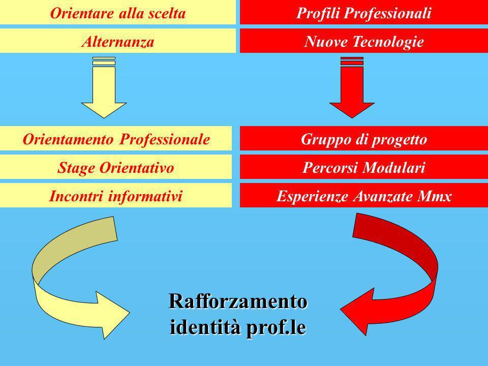 Orientare alla sceltaProfili Professionali AlternanzaNuove Tecnologie Orientamento Professionale Stage Orientativo Incontri informativi Gruppo di prog