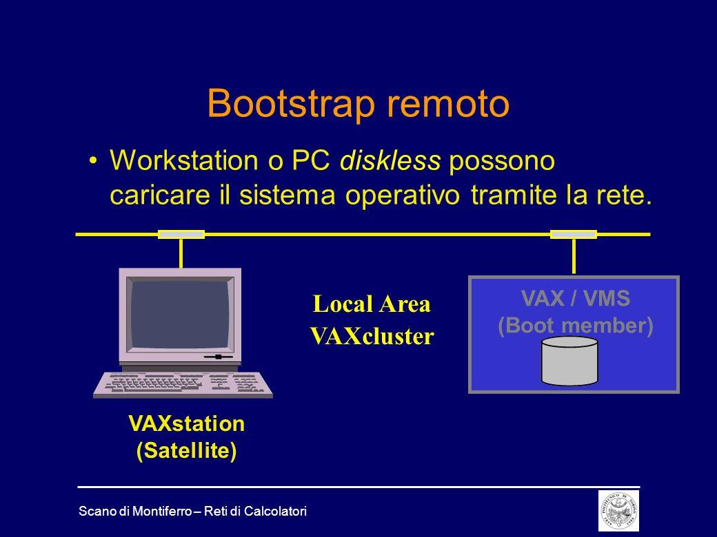 Scano di Montiferro – Reti di Calcolatori Bootstrap remoto Workstation o PC diskless possono caricare il sistema operativo tramite la rete. VAX / VMS
