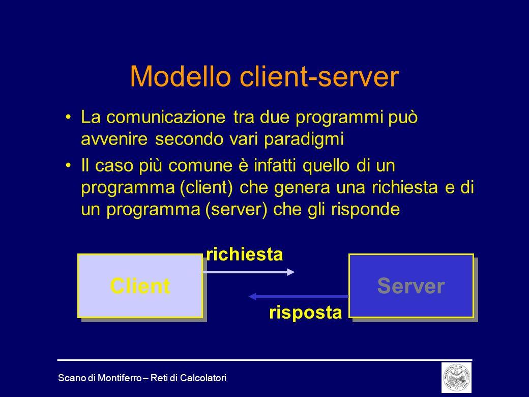 Scano di Montiferro – Reti di Calcolatori Modello client-server La comunicazione tra due programmi può avvenire secondo vari paradigmi Il caso più com