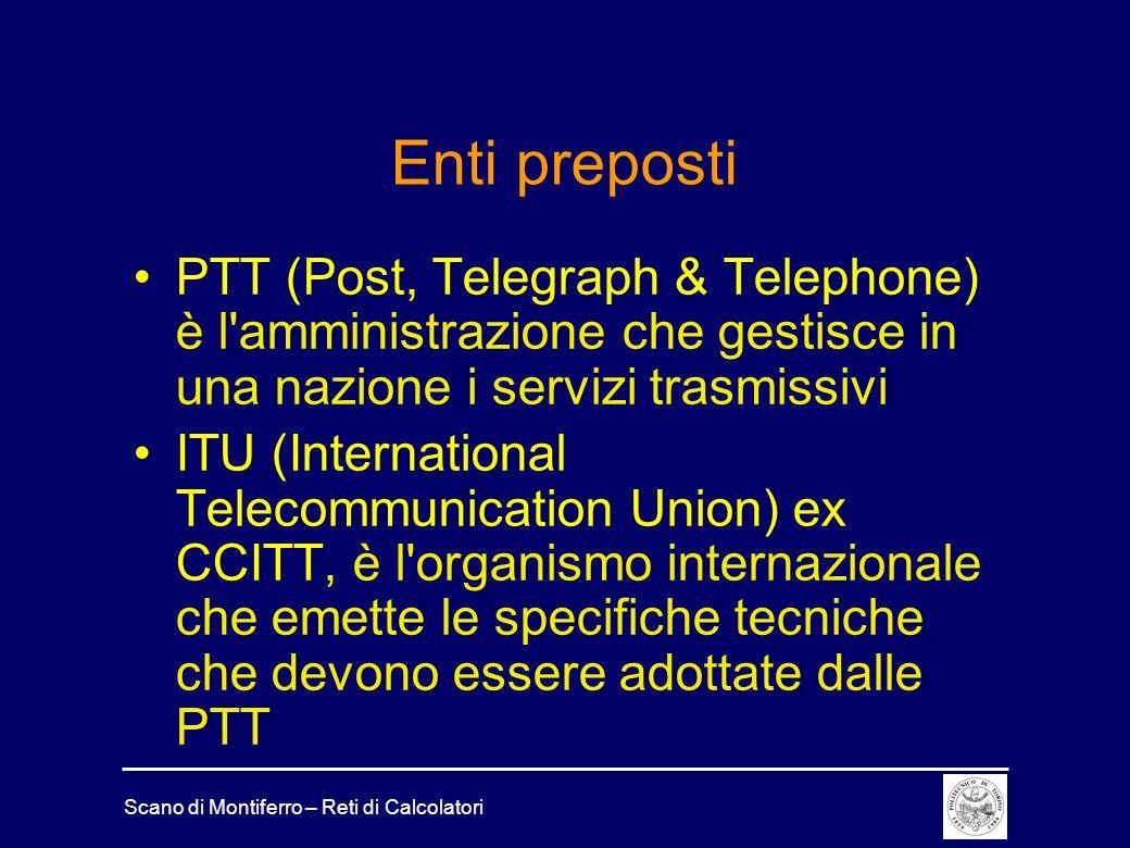 Scano di Montiferro – Reti di Calcolatori Enti preposti PTT (Post, Telegraph & Telephone) è l'amministrazione che gestisce in una nazione i servizi tr