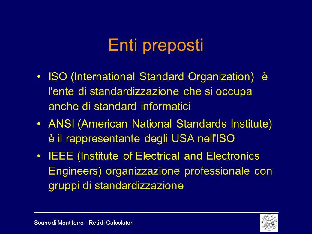 Scano di Montiferro – Reti di Calcolatori Enti preposti ISO (International Standard Organization) è l'ente di standardizzazione che si occupa anche di
