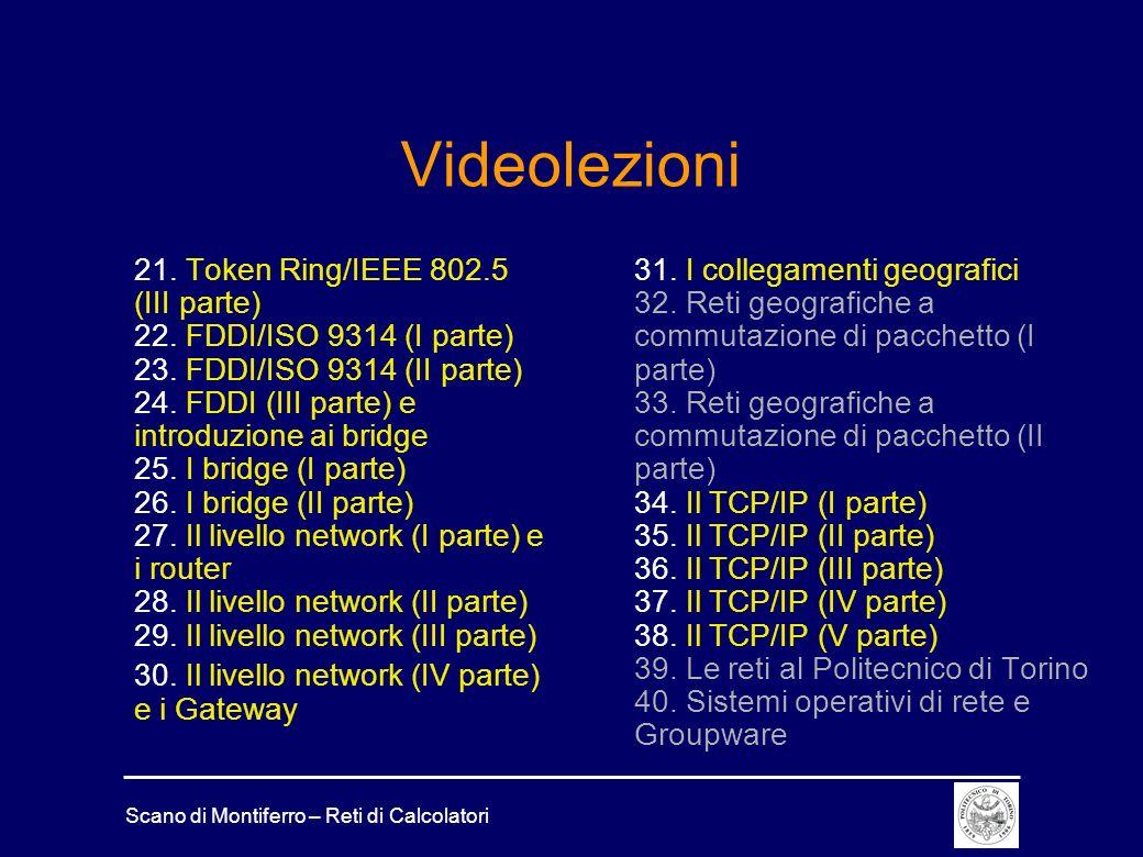 Scano di Montiferro – Reti di Calcolatori Videolezioni 21. Token Ring/IEEE 802.5 (III parte) 22. FDDI/ISO 9314 (I parte) 23. FDDI/ISO 9314 (II parte)