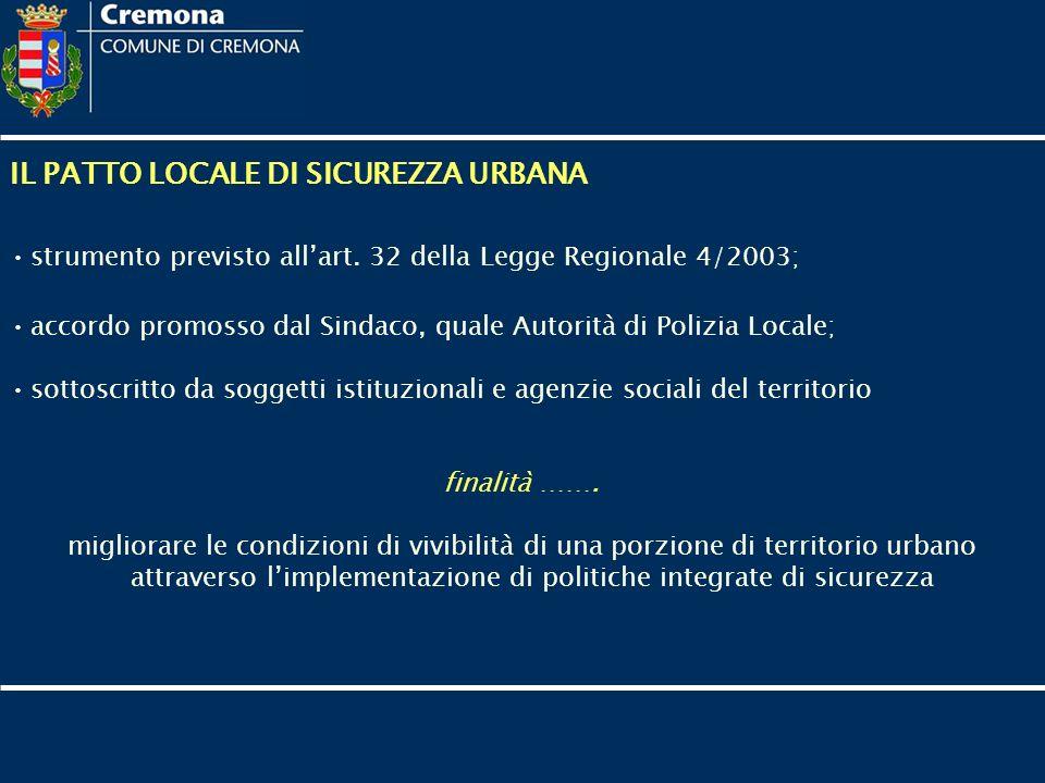 IL PATTO LOCALE DI SICUREZZA URBANA strumento previsto allart. 32 della Legge Regionale 4/2003; accordo promosso dal Sindaco, quale Autorità di Polizi