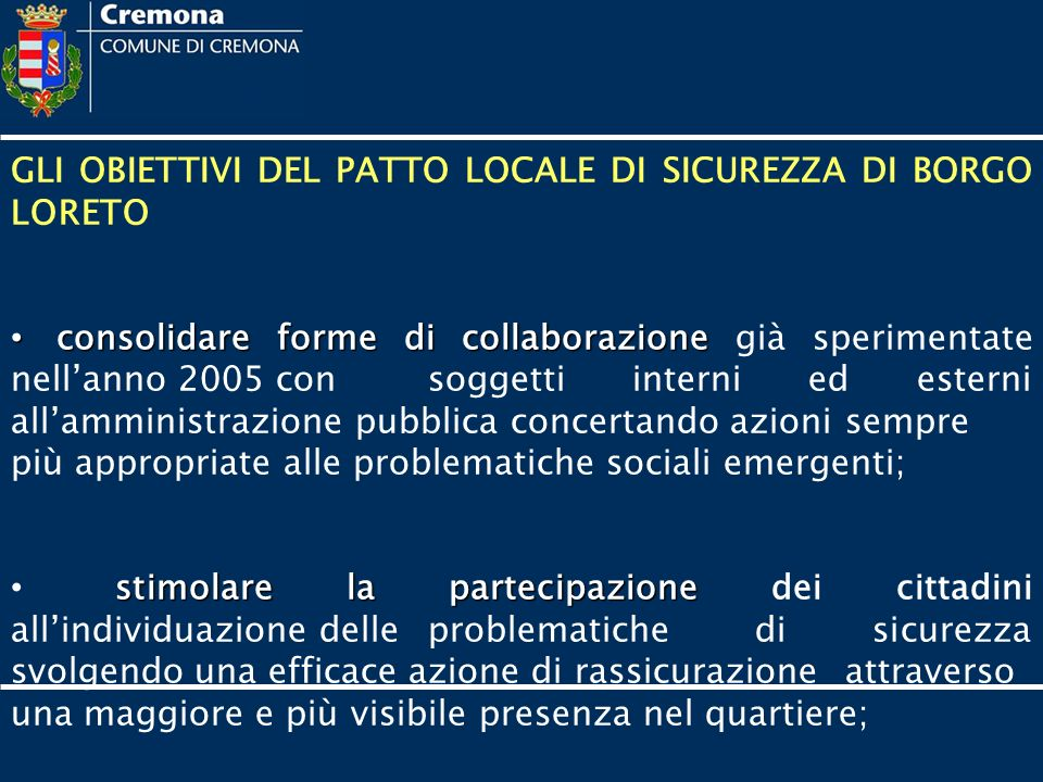 Patto Locale di Sicurezza Urbana....