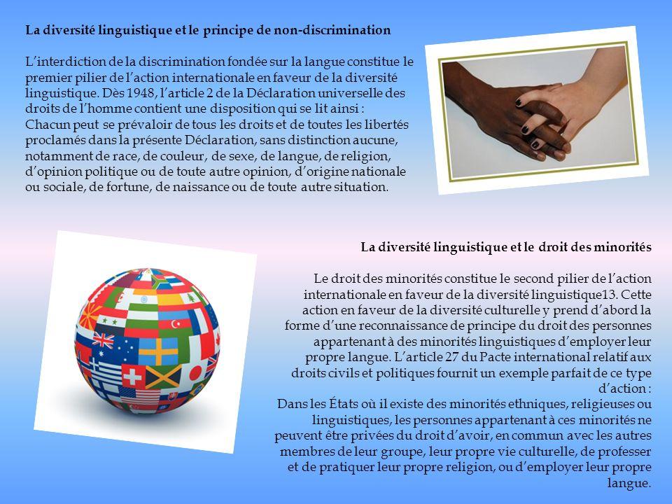 La diversité linguistique et le principe de non-discrimination Linterdiction de la discrimination fondée sur la langue constitue le premier pilier de