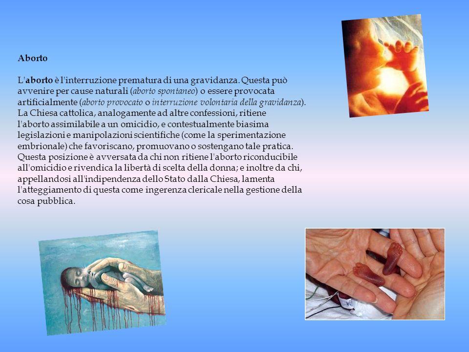 Aborto L' aborto è l'interruzione prematura di una gravidanza. Questa può avvenire per cause naturali ( aborto spontaneo ) o essere provocata artifici