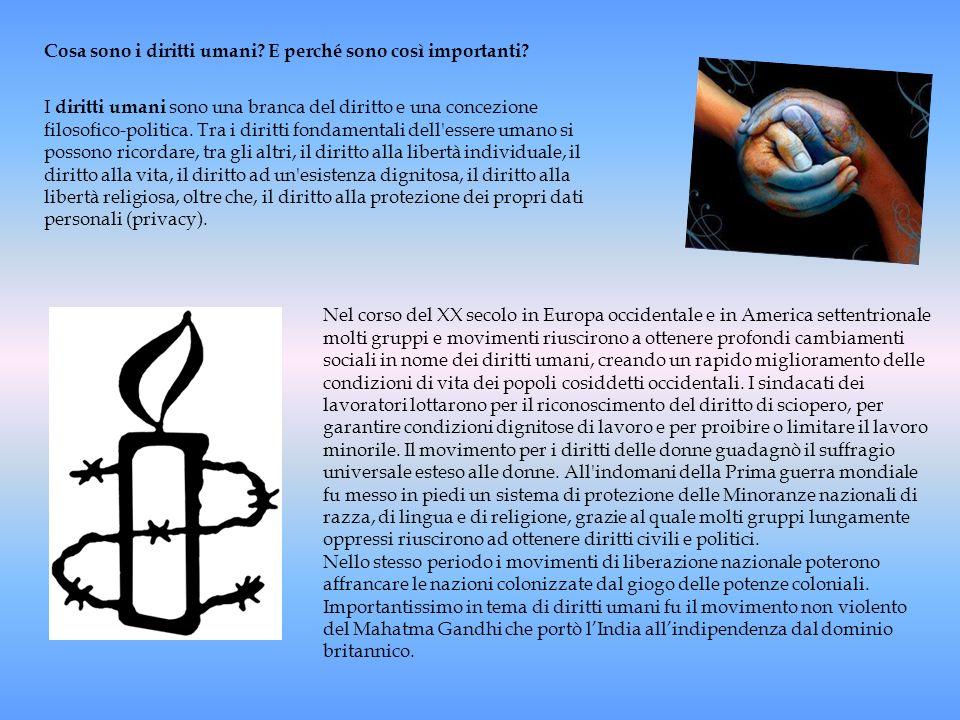 Cosa sono i diritti umani? E perché sono così importanti? I diritti umani sono una branca del diritto e una concezione filosofico-politica. Tra i diri