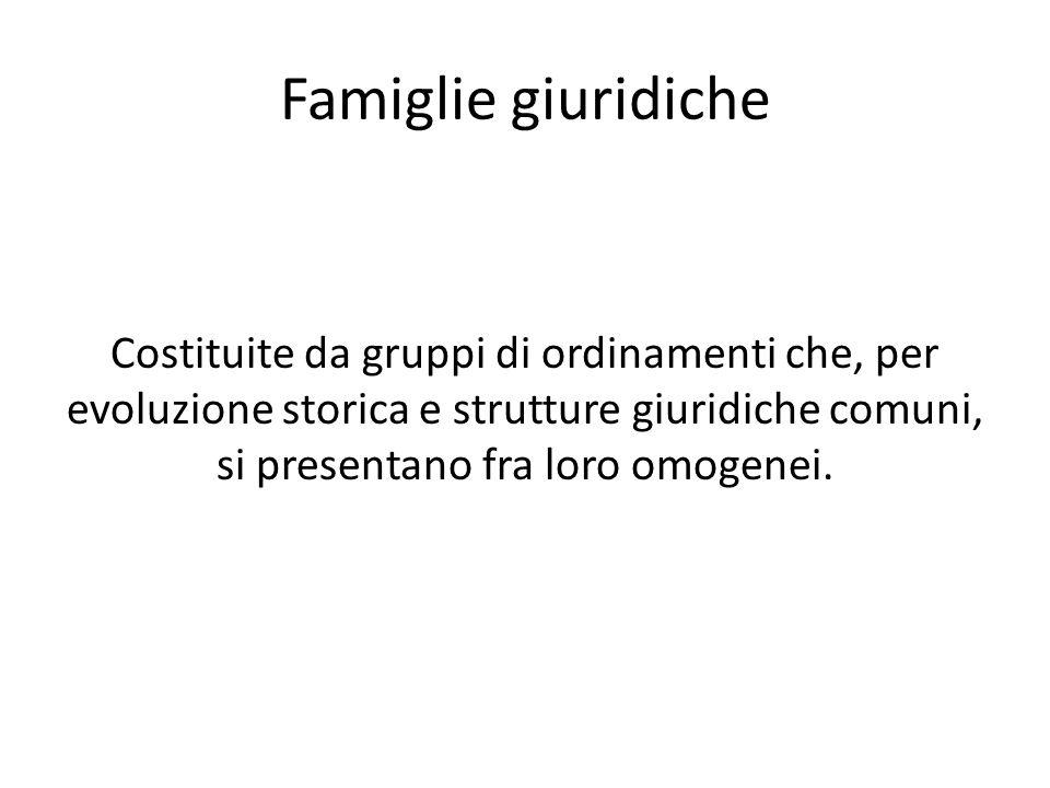 Famiglie giuridiche Costituite da gruppi di ordinamenti che, per evoluzione storica e strutture giuridiche comuni, si presentano fra loro omogenei.