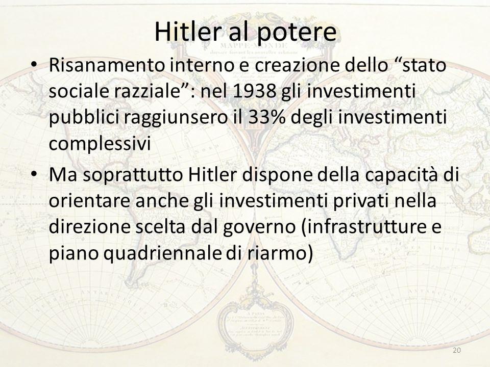 Hitler al potere 20 Risanamento interno e creazione dello stato sociale razziale: nel 1938 gli investimenti pubblici raggiunsero il 33% degli investimenti complessivi Ma soprattutto Hitler dispone della capacità di orientare anche gli investimenti privati nella direzione scelta dal governo (infrastrutture e piano quadriennale di riarmo)