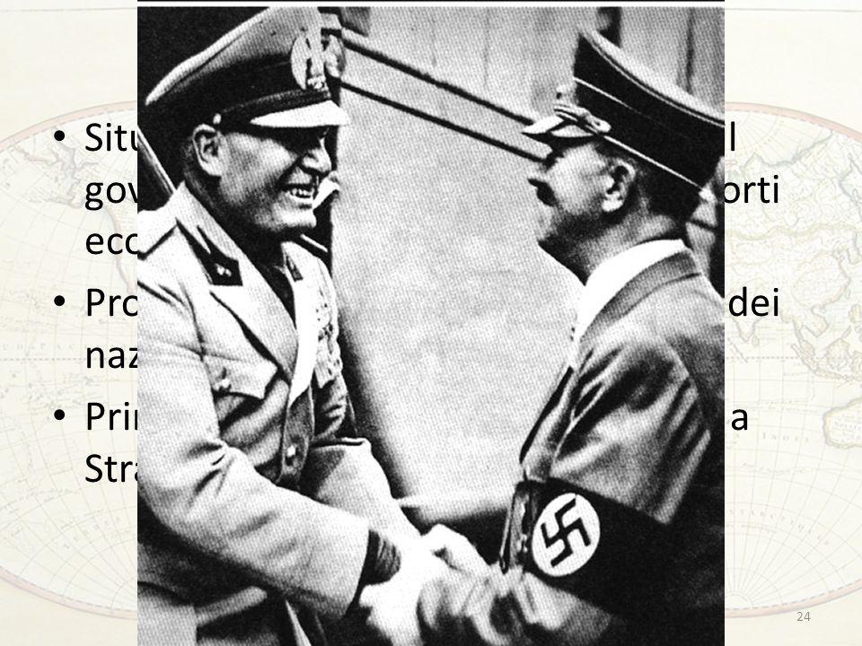 La questione austriaca Situazione insurrezionale in Austria: il governo conservatore rafforza i rapporti economici e politici con lItalia Propaganda per lAnschluss da parte dei nazisti austriaci Primo incontro tra Mussolini e Hitler a Stra 24