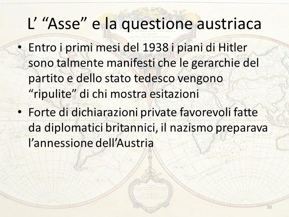 L Asse e la questione austriaca Entro i primi mesi del 1938 i piani di Hitler sono talmente manifesti che le gerarchie del partito e dello stato tedesco vengono ripulite di chi mostra esitazioni Forte di dichiarazioni private favorevoli fatte da diplomatici britannici, il nazismo preparava lannessione dellAustria 50