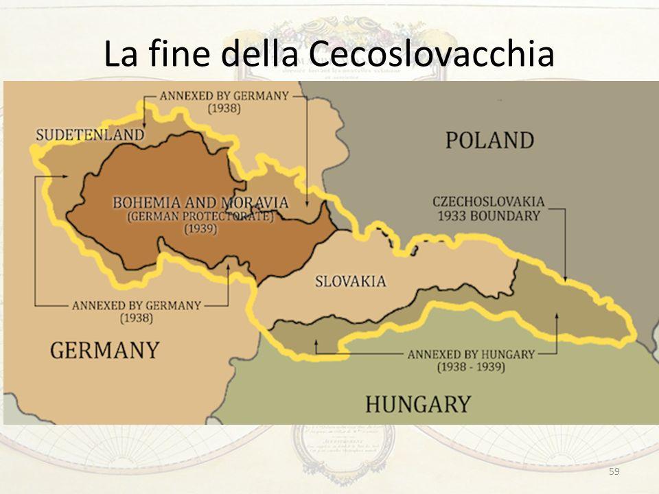 La fine della Cecoslovacchia …ma il principio di nazionalità non poteva giustificare la mossa successiva di Hitler Marzo 1939: promozione del dissidio tra cechi e slovacchi; due protettorati sottoposti a controllo tedesco 59