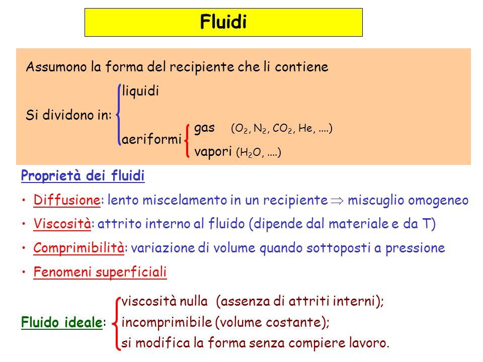 Fluidi in equilibrio in un recipiente Legge di Pascal : la pressione esercitata in un punto della superficie del fluido si trasmette inalterata in ogni punto del volume del fluido F Effetto del peso del fluido (legge di Stevino): Pressione idrostatica In un fluido in equilibrio, la pressione interna dipende solo dalla profondità h